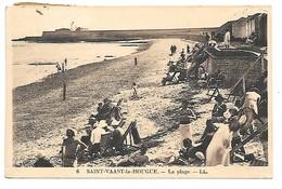 Cpa...Saint-Vaast-la-Hougue...la Plage...animée..1930... - Saint Vaast La Hougue