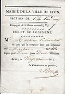 1814 - LYON - BILLET DE LOGEMENT  Pour 2 Militaires De La  Cie De La Garde Nationale N° 7 - Historical Documents