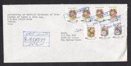 Iran: Registered Cover To Netherlands, 1996, 7 Stamps, Flowers, Strip, Pair (1 Stamp Damaged) - Iran