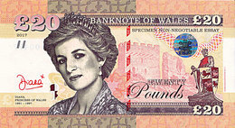 Galles 20 Livres 2017  Spécimen UNC Lady Diana - [ 8] Fakes & Specimens