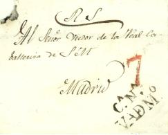 D.P. 1. Valdemoro. Sin Fechar. Frontal Circulado A Madrid. Marca P.E. 4. Rarísima. - ...-1850 Prefilatelia