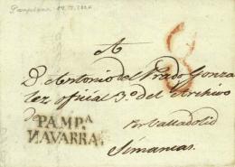 D.P. 6. 1824 (18 JUL). Carta De Pamplona A Simancas. Marca P.E. 27. Muy Rara Y De Lujo. - ...-1850 Prefilatelia