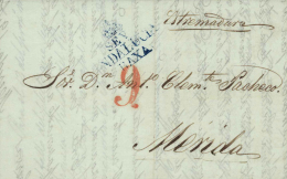 D.P. 25. 1851. Carta De Sevilla A Mérida. Preciosa Y De Lujo. - ...-1850 Prefilatelia