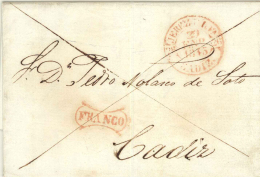 D.P. 26. 1843. Carta De Jerez A Cádiz. Marca Franco En Rojo. Lujo. Espectacular. - ...-1850 Prefilatelia