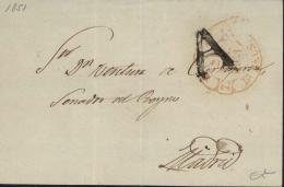 """Frontal De Plica Circulada A Madrid. Marca """"A"""" De Abono De Burgos. Año 1851. - ...-1850 Prefilatelia"""