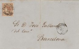 Ø 96 En Envuelta De Cartagena A Barcelona. Matasellos Fechador Tipo 1854. - 1850-68 Kingdom: Isabella II