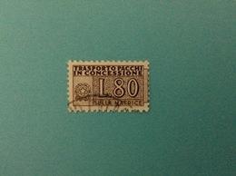 ITALIA PACCHI IN CONCESSIONE 80 LIRE FILIGRANA STELLE USATO MATRICE STAMP USED - Pacchi Postali