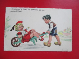 CPA ILLUSTRATEUR JANSER ENFANTS BROUETTE - Janser