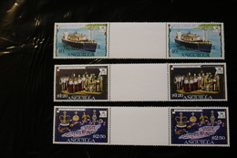 Anguilla 298-300 Royal Visit Ovpts Coronation Queen Elizabeth Ship Map Gutter Pairs MNH 1977 A04s - Anguilla (1968-...)