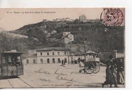 Cpa.38.La Gare Et Le Coteau De Coupe-Jarret.animé Personnages Tram Attelage à Bras.1903 - Vienne