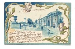 RU 190000 SANKT PETERSBURG, Quai De L'Amiraute, Jugendstil-Litho, 1902, Kl. Fleck - Russland