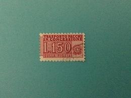 ITALIA PACCHI IN CONCESSIONE 150 LIRE FILIGRANA STELLE USATO FIGLIA STAMP USED - Pacchi Postali