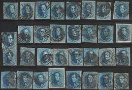 Belgique Petit Lot De Médaillons 20 C. Pour Oblitérations, Nuances, Planchage - 1849-1865 Medallions (Other)
