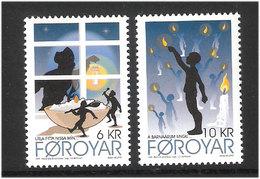 "Faroe Islands 2010 Christmas,  Illustrations For The Christmas Carol ""Á Barnaárum Ungu"", Mi 710-711, MNH(**) - Färöer Inseln"