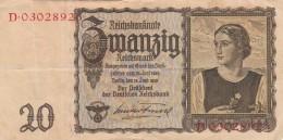 GERMANIA 1939 20 REICHSMARCK- VF+ (BA57 - [ 4] 1933-1945 : Third Reich