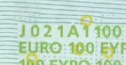 S ITALIA 100 EURO J021 A1 -  FIRST POSITION - TRICHET   UNC - EURO