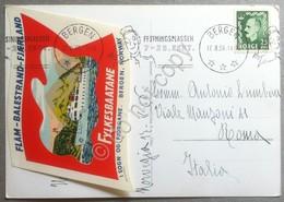 Erinnofilia Norvegia 1956 Cartolina Con Etichetta Fylkesbaatane Festningsplassen - Italie