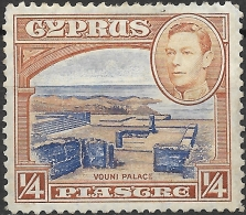 CYPRUS 1938 King George VI - Vouni :Palace - 1/4 Pi - Blue And Brown MH - Cyprus (...-1960)