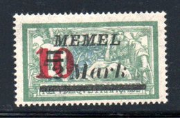Memel /    N 82 / 10 M  Sur 2 M Vert /  NEUF Avec Charnière - Memel (1920-1924)