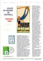 1995 DOCUMENT FDC COUPE DU MONDE DE FOOTBALL FRANCE 98 - Documents Of Postal Services