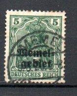 Memel /    N 1 / 5 Pf Vert /  Oblitéré - Memel (1920-1924)