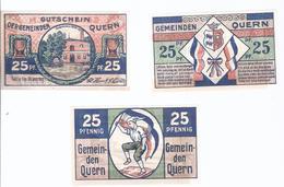 Notgeld - Quern , Schleswig Holstein - 3 X 25 Pfennige  Selten Serie Komplett    - NB157 - [11] Emissions Locales