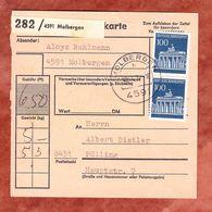 Paketkartenteil Fuer 2 Pakete, MiF Brandenburger Tor Berlin, Molbergen Nach Foelling 1974 (54293) - BRD