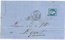 Lettre Fragment Napoléon III Empire Franc 20c. Y.T. 22 Cachet Paris Pl.de La Bourse 5 Oct.1865 (2scans) - 1862 Napoléon III