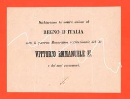 Risorgimento Scheda Referendum Annessione Del Veneto Al Regno D'Italia 1866 Re Vittorio Emanuele II°  RARA - Decreti & Leggi