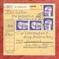 Wert-Paketkartenteil, MiF Heinemann, Koblenz Nach Ramsel, AK-Stempel Baccum 1974 (54300) - BRD