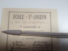 LIMOGES, école St JOSEPH, Prix D'honneur Et Accessits 1894 - Diplomi E Pagelle