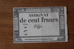 Assignat  De Cent Francs    Publicité - Assignats & Mandats Territoriaux