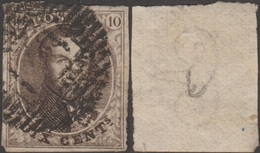 Belgique 1854 COB 6B. 10 C. Médaillon Papier Vergé Verticalement, Cachet De Perception P138 Chaudfontaine (??) - 1851-1857 Médaillons (6/8)