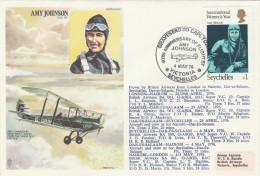 1976 SEYCHELLES Via KENYA Special FLIGHT COVER Anniv AMY JOHNSON Aviator Aviation Stamps - Seychelles (1976-...)