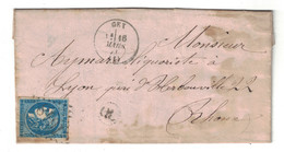 1871 - CACHET OL (ORIGINE LOCALE) De MIJOUX + CAD TYPE 16 De GEX (AIN) Sur LETTRE AFFRANCHIE BORDEAUX N° 45 - Marcophilie (Lettres)