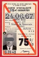 -- CARTE D'INVALIDITE - Office National Des Anciens Combattants Et Victimes De Guerre -- - Documents