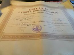 CERTIFICAT D'ETUDES COMPLEMENTAIRES ENSEIGNEMENT PRIMAIRE SUPERIEUR ACADEMIE DE BORDEAUX DEPARTEMENT LOT ET GARONNE1938 - Diplomi E Pagelle