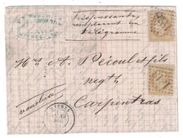"""1870 - MENTION MANUSCRITE """" TRES PRESSANTE REMPLAÇANT UN TÉLÉGRAMME """" Sur LETTRE LAC De HYERES Pour CARPENTRAS GC 1818 - 1849-1876: Klassik"""