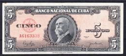 CUBA 1950. 5 PESOS. MAXIMO GOMEZ.  MBC   B795 - Cuba