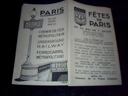 """Depliant  Plan Metro Chemin De Fer Metropolitain De Paris """" Fete De Paris"""" 1937 Plan Ligne Leslilas/chatelet - Dépliants Touristiques"""