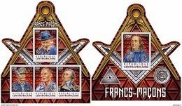 CENTRAL AFRICA 2017 - Freemasons - Mi 7385-8 + B1678; CV=30 € - Franc-Maçonnerie