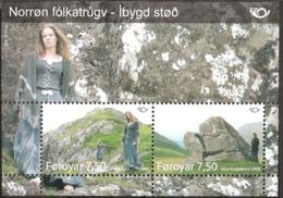 Faroe Islands 2008 NORDEN - Nordic Myths (III)  Alvheyggur Near Haldarsvík. Klovningasteinur   Leirvík Mi  Bl 22 MNH(**) - Färöer Inseln
