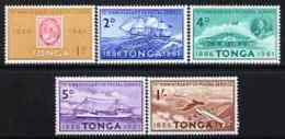 47894 Tonga 1961 75th Anniv Tongan Postal Serv Perf Set (douglas Dc-4 Post Offices Aviation Ships Whales Stamp On Stamp) - Tonga (1970-...)