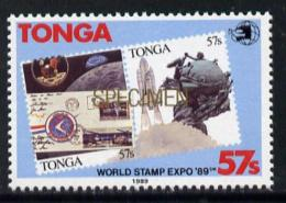 5723 Tonga 1989 World Stamp EXPO 89 57s Value O/p SPECIMEN In Gold U(space UPU Stamp Exhibitions Stamp On Stamp) - Tonga (1970-...)