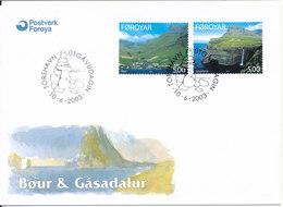 Faroe Islands FDC 10-6-2003 Tourism Bour & Gasadalur Complete With  Cachet - Faroe Islands