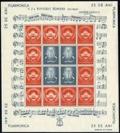 ROMANIA 1946 Bucharest Philharmonic 350+1650L Mi 986, Enescu, Rapsody, Souvenir SHEET - Neufs