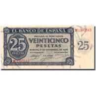 Billet, Espagne, 25 Pesetas, 1936, 1936-11-21, KM:99a, SUP - [ 2] 1931-1936 : Repubblica