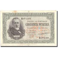 Billet, Espagne, 50 Pesetas, 1940, 1940-01-09, KM:117a, TB - [ 3] 1936-1975 : Régence De Franco