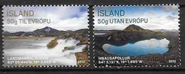 Islande 2012, N°1272/1273 Neufs Tourisme - 1944-... Republic