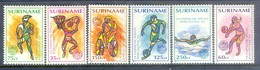 H166- Surinam  Suriname 1992 Olympic Games Barcelona. Basketball Bicycle Soccer Swimming Volleyball. - Summer 1992: Barcelona
